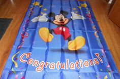 Disney Mickey Mouse Yard Flag Congratulations Party Celebrate  #Disney