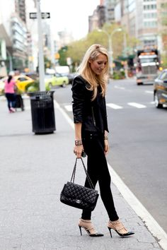 leather jacket, bag, and rockstud heels