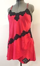 VTG Victoria's Secret Nightie Large Satin Pink Red Nightgown Slip Lace GOLD LBL