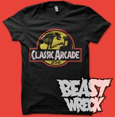 """""""CLASSIC ARCADE""""  BeastWreck pays homage to that wonderful cultural highlight of its youth, the old-school Classic Arcade.  3 color soft-ink screenprint on black. Available at the BeastWreck shop. http://www.beastwreck.bigcartel.com/product/classic-arcade-men-s-shirt"""