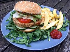 Pain Burger, Tofu Burger, Salmon Burgers, Burger Recipes, Vegetarian Recipes, Crudite, Best Comments, Ethnic Recipes, Collage
