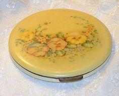 Vintage Compact Yellow Pansies Floral Pancake Powder Compact Vanity Compact Make Up Compact Max Factor.