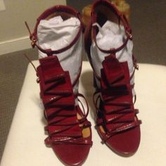 L.a.m.b heels Burgundy leather l. a.m.b high heels. Size 38.5 120mm in height L.A.M.B. Shoes Heels