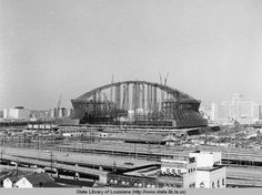 Superdome - construction just beginning 1971 - opening to the pubic 1975 for a cost of $ 134 million - more info http://en.wikipedia.org/wiki/Mercedes-Benz_Superdome