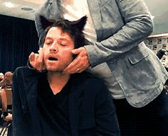 Misha < By the way, that's Jensen petting him. Just thought you should know.