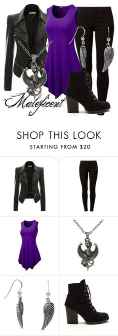 """""""Maleficent (A Disney-Inspired Outfit)"""" by one-little-spark ❤ liked on Polyvore featuring Dorothy Perkins, Carolina Glamour Collection, BillyTheTree, disneybound and motojackets"""