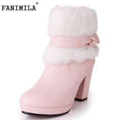 Modest Moonmeek Fashion Women Boots Lace Up Flock Women Mid Calf Boots Solid Color Snow Boots Winter Wedges Heels Big Size 34-43 Office & School Supplies