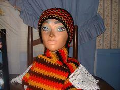 Crocheted Black,Red &Gold Men Women Teen Accessorie Scarf & Benie Hat Cap NEW    #Handmade #LongScarfHatBenie