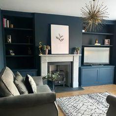 Blue Living Room Decor, Navy Blue Living Room, Living Room Color Schemes, New Living Room, Home And Living, Living Room Designs, Decor Room, Small Living, Home Decor