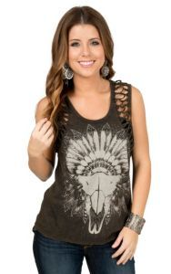 Rock & Roll Cowgirl Women's Black with Indian Headdress and Skull Screenprint Sleeveless Casual Knit | Cavender's