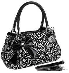 TWEED Black & White Floral w/Bow Satchel Bowler Hobo Handbag Purse Weave Double Handles on amazon today for just $32.99 & eligible for FREE Super Saver Shipping find us on facebook here https://www.facebook.com/pages/Amazon-Deals-Shoes-and-Handbags/358750670897040