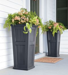 The Lexington self-watering planter is tall enough to make a statement in an exterior entry or foyer.