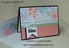 """Many Thanks Card includes """"Another Thank You"""" Photo-polymer Stamp Set / Houndstooth Embossing Folder / Finishing Touches Edgelits Die / Envelope Liner Framelits Die/ Stampin' Up! products.  Highlights the upcoming 2014 Sale-a-bration item: Sweet Sorbet Designer Series Paper.  More on my blog.  http://lindasstampinescape.com"""
