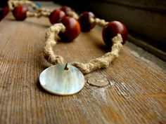 Land and Sea  Shell and Wood Beaded Hemp Necklace by ecocreations