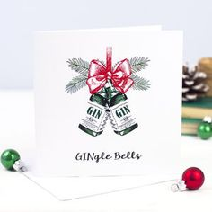'Gingle Bells' Gin Christmas Card - cards & wrap