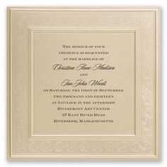 Easily personalized and shipped in a snap! Get gorgeous invitations for your wedding like these beautifully embossed invites with pearl stamped frame.