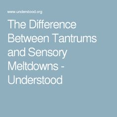 The Difference Between Tantrums and Sensory Meltdowns - Understood