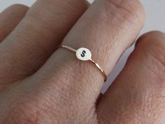 Skinny Gold Initial Stacking Ring by FULLMOONJEWELLERY on Etsy