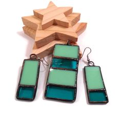 Stained Glass Jewelry Retro Rectangles Stained Glass Pendant Earrings Set Glass and Metal Jewelry Handmade Jewelry Ooak Green Glass Jewelry by coalchild on Etsy https://www.etsy.com/listing/116998195/stained-glass-jewelry-retro-rectangles