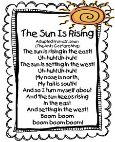First Grade Wow: The Sun is Rising song. great site