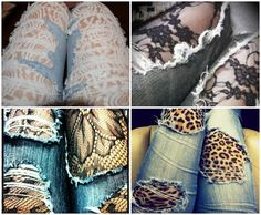 tights under distressed denim jeans