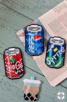 Soda magnets made from perler beads. Perler Bead Designs, Easy Perler Bead Patterns, Melty Bead Patterns, Perler Bead Templates, Hama Beads Design, Diy Perler Beads, Perler Bead Art, Pearler Beads, Fuse Beads