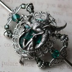 Dragon Charmer - Silver and Emerald Green Medieval Hair Stick Barrette.