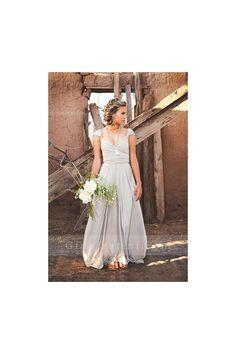Backless Cap Sleeve Shoulder Straps Long Chiffon Bridesmaid Dress