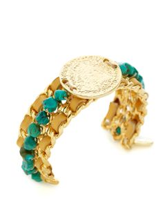 Turquoise Nugget & Engraved Disc Cuff Bracelet