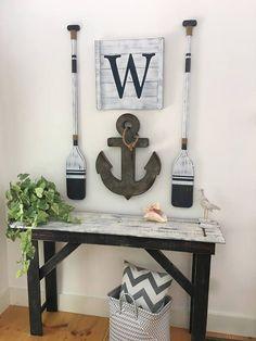 Large, NAUTICAL ART SET, 4 pc. set, rustic beach house decor, Wood Nautical Decor, Oar decor, Anchor decor, Nautical decor, Nautical nursery #inital #sign #homedecor #nursery #anchor #paddles #nursey #baby #affiliate