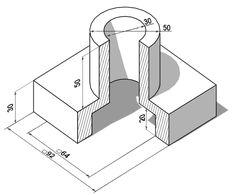 Elegir el número de vistas Autocad, Isometric Drawing Exercises, Orthographic Drawing, Architecture Drawing Art, Geometric Drawing, Isometric Design, Mechanical Design, Technical Drawing, Planer