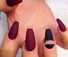 burgundy and black nail art