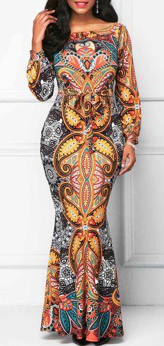 Long Sleeve Belted Printed Mermaid Dress.
