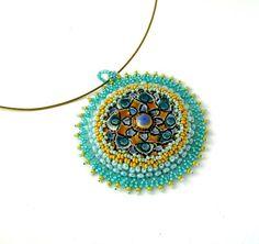 Bead embroidered jewelry Beadwork Beaded jewelry handmade by ibics