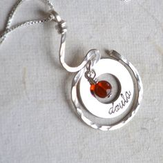 Personalized Sterling Silver Necklace Amber by moonovermaize on Etsy, $52.00 Love It!!