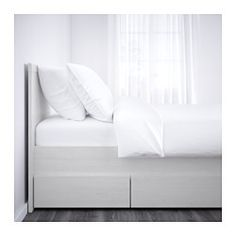 IKEA - BRUSALI, Bed frame with 4 storage boxes,  , Double, , The 4 large drawers on castors give you an extra storage space under the bed.Adjustable bed sides allow you to use mattresses of different thicknesses.