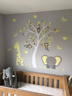 Jungle Decal Yellow and Grey nursery decor feat. cheeky