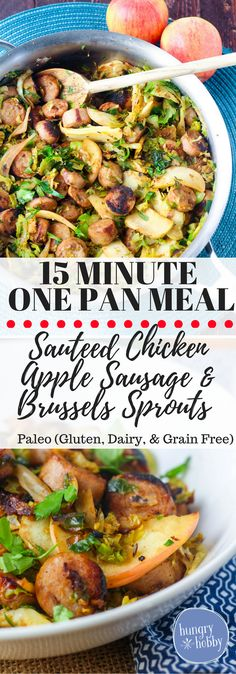 This healthy skillet with chicken sausage, brussels sprouts & apples can be made in less than 15 minutes.  A quick and healthy one pan meal! via @hungryhobby
