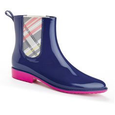Henry Ferrera Clarity 800 Short Plaid Rain Boots (€48) ❤ liked on Polyvore featuring shoes, boots, ankle booties, ankle boots, short rubber boots, bootie boots, short heel booties and low heel booties