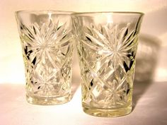 Two Vintage Pressed Glass Juice Glasses by RetroHomeAndHardware, $21.00
