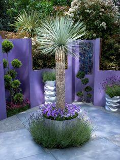 Large sculptural plants and vivid colors create plenty of drama in this fusion-style patio garden. See more of RMSer Ozymndius space. Advertisement - My Secret Garden Purple Garden, Colorful Garden, Dream Garden, Garden Art, Garden Walls, Outdoor Rooms, Outdoor Gardens, Indoor Garden, Jardin Feng Shui