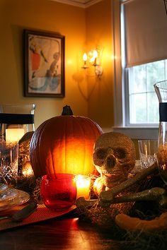 Halloween/Samhain decorations: From our table setting a couple of years ago.