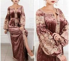haherezad kaftan in copper color. Price 1350 dirham For inquiries what's up Abaya Fashion, Muslim Fashion, Modest Fashion, Fashion Dresses, Velvet Dress Designs, Plus Zise, Moroccan Dress, Mein Style, Nursing Dress