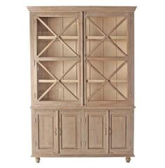 This French Country hutch brings rustic elegance to a dining room or kitchen while allowing you to show off and store your best china and silver in style. The cupboard interior is finished in a lighter shade to provide a beautiful contrast, and the wood carved detailing make this piece an instant classic.