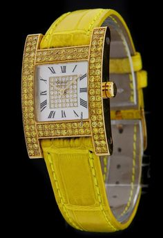 Chopard Yellow Gold H-Watch Your Hour Yellow Diamonds 12/6818-45 $27,995 #Chopard #watch #watches #chronograph Yellow gold
