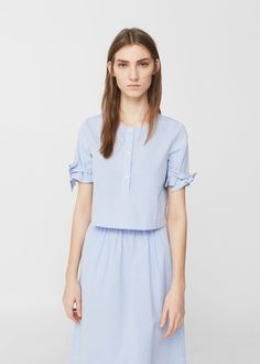 Bow cotton blouse | MANGO