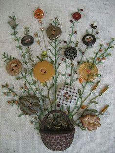 Odd/spare buttons, embroidery on a sweatshirt sweater Handsewn framed picture using Antique Buttons as flowers with embroidered stems and leaves then embelished with beads as buds. Buttons, embroidery are a creative inspiration for us. Silk Ribbon Embroidery, Embroidery Stitches, Embroidery Patterns, Hand Embroidery, Embroidery Supplies, Cool Buttons, Vintage Buttons, Craft Projects, Sewing Projects