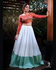 Ahaana Krishna (born October is an actress and model from India who appears in Malayalam movies. In she made her debut at Njan Steve Half Saree Lehenga, Lehenga Saree Design, Lehnga Dress, Lehenga Designs, Indian Designer Outfits, Designer Dresses, Indian Outfits, Frock For Women, Party Wear Lehenga