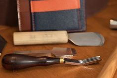 Japanese leather knife and Barry King French edger.