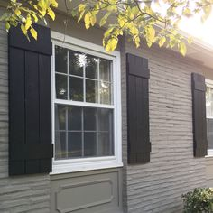 DIY Exterior Shutters – Home Renovation Window Shutters Exterior, Outdoor Shutters, Wood Shutters, Modern Shutters, Diy Exterior Shutters Ideas, Homes With Shutters, Diy Exterior Projects, Cottage Shutters, Minimalist House